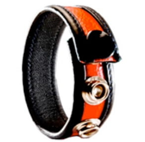 3-Snap Leather Cock Ring - black & red