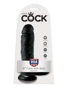 "King Cock 20 cm/8"" Cock with Balls black"