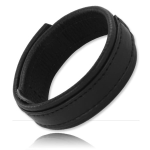 Velcro Leather Cock Ring 20 mm Wide - Skórzana opaska na penisa z rzepem