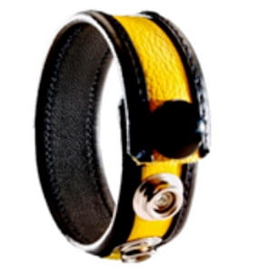 3-Snap Leather Cock Ring - black & yellow