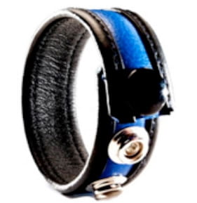 3-Snap Leather Cock Ring - black & blue