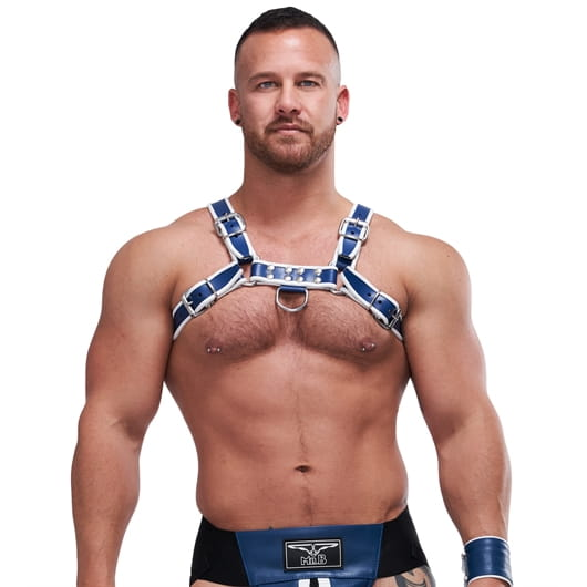 Mister B Uprząż Leather Circuit Harness blue-white